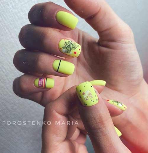 Яркий летний дизайн короткие ногти