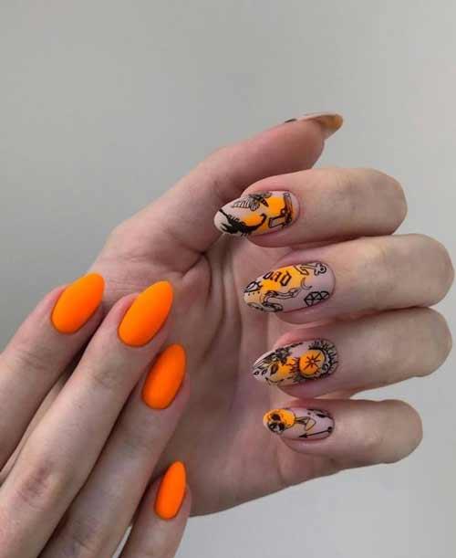 Ярко-оранжевый маникюр