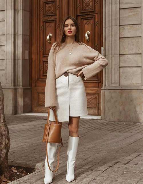 Модная белая юбка мини