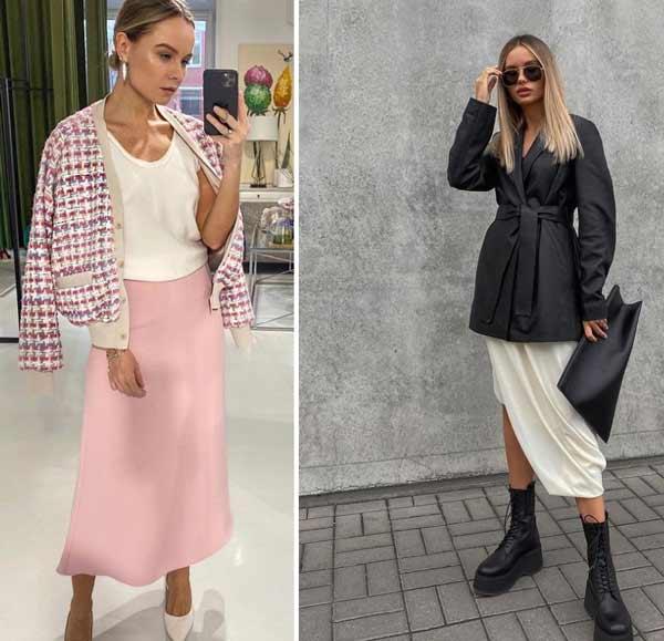 Модные юбки сатин весна-лето