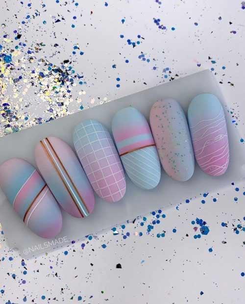 Модные рисунки на покрытии пастель ногти