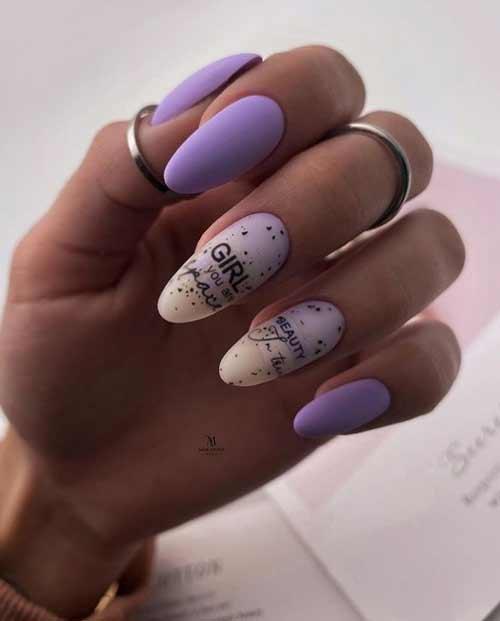 Нежный фиолетовый маникюр