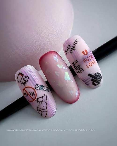 Молодежные рисунки на ногтях