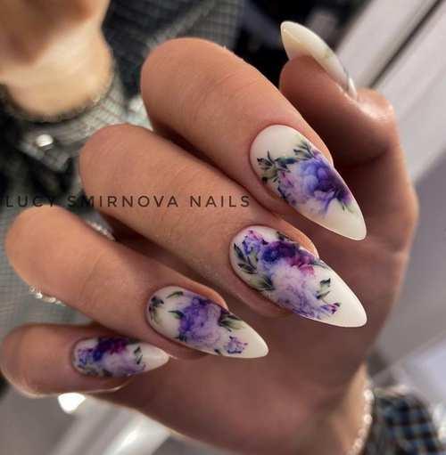 Длинные ногти с весенним дизайном