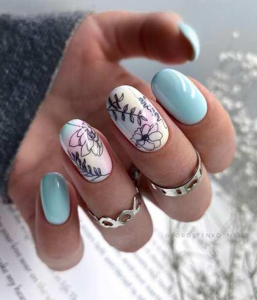 Овал весенний дизайн ногтей