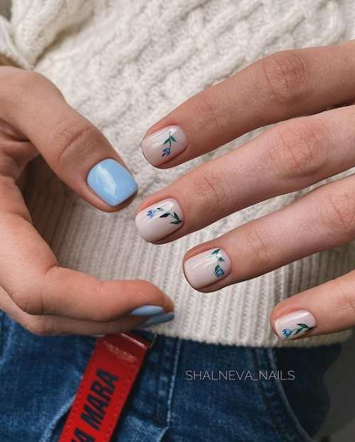 Голубой весенний маникюр