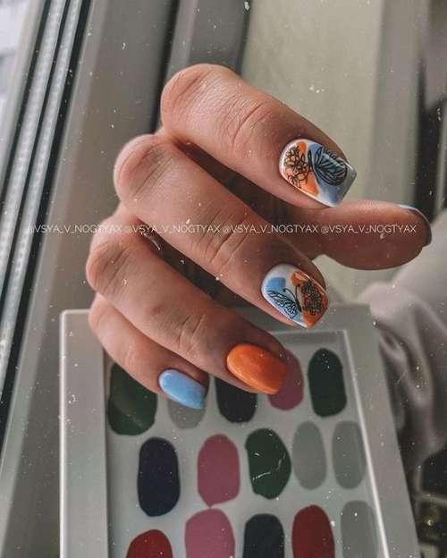 Двухцветный маникюр: фото, сочетание двух цветов в нейл-дизайне