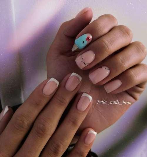 Двухцветный дизайн ногтей разные руки