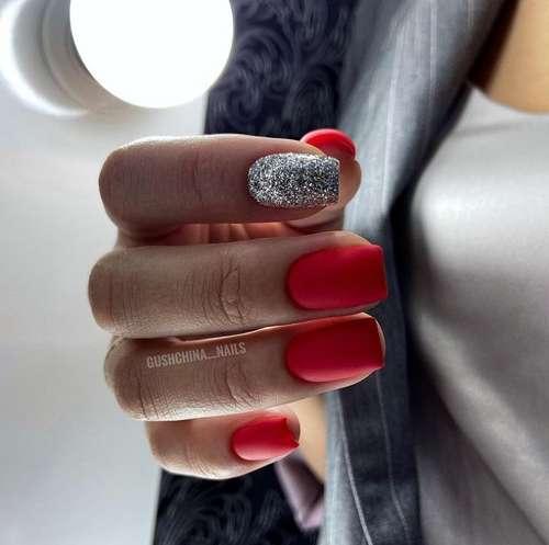 Красный матовый с серебром