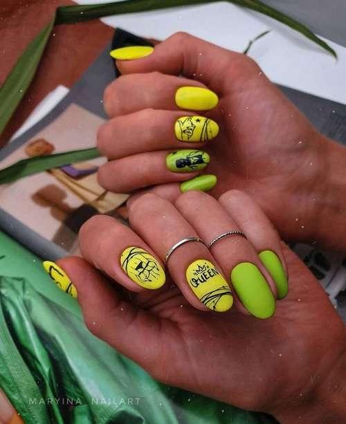Неоновый зеленый с желтым маникюр