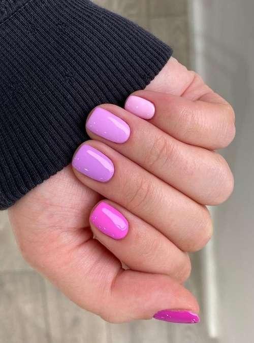 Розовый однотонный маникюр два цвета