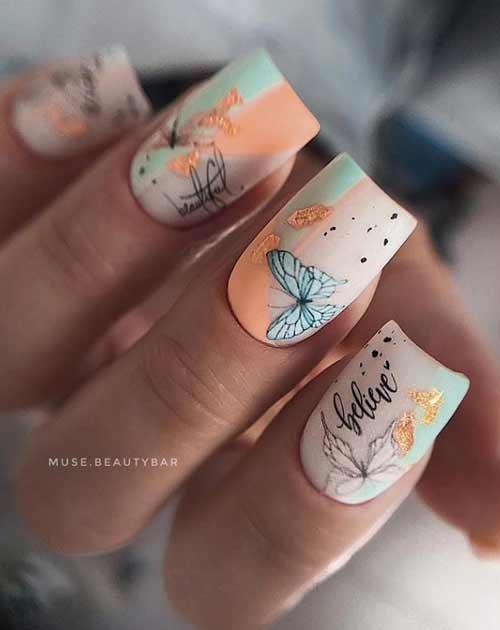 Маникюр бабочки на ногтях