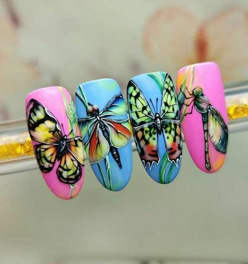 Рисунки бабочки ногти