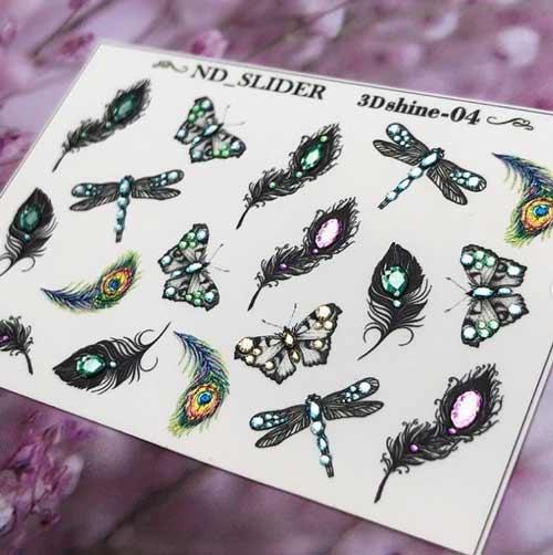 Черные бабочки со стразами