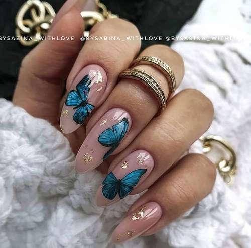 Яркие бабочки ногти