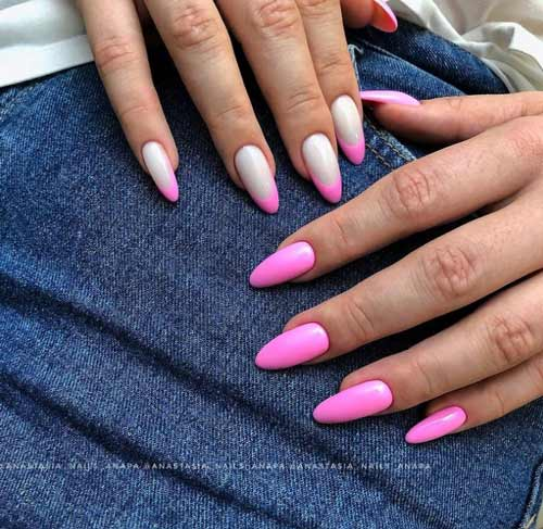 Разный маникюр рук в розовых тонах