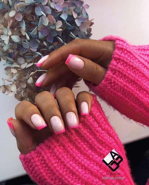 Розово-молочный френч