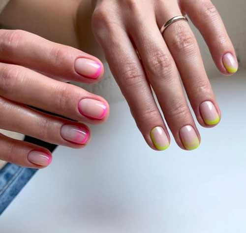 Розовый маникюр короткие ногти