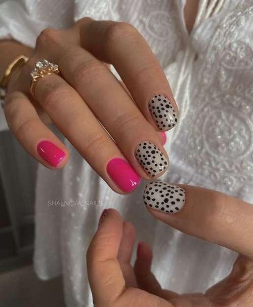 Маникюр цвет фуксия с леопардовым принтом
