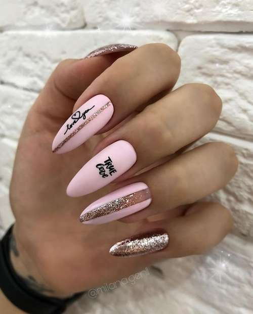 Дизайн ногтей в розовых тонах с блестками