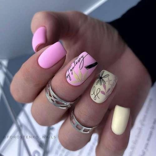 Розовый маникюр с наклейками