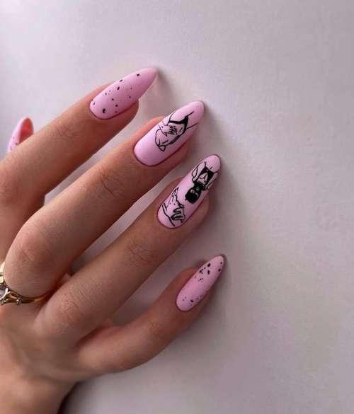 Розовый с рисунками маникюр фото