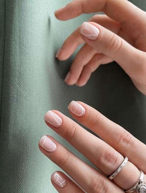 Очень короткие ногти нежный дизайн