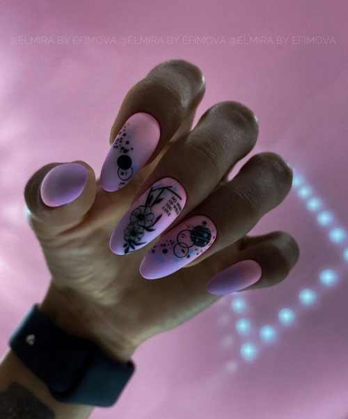 Сиреневые длинные ногти