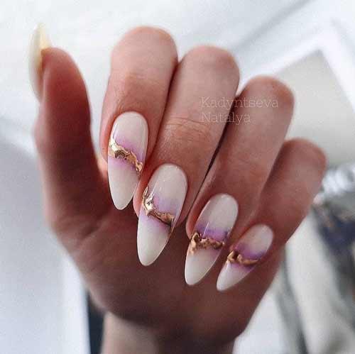 Длинные ногти сиреневый маникюр