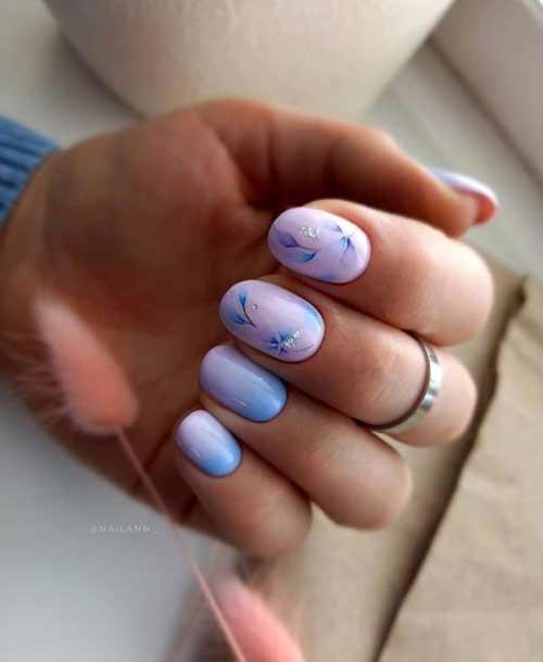 Сиренево-голубой маникюр