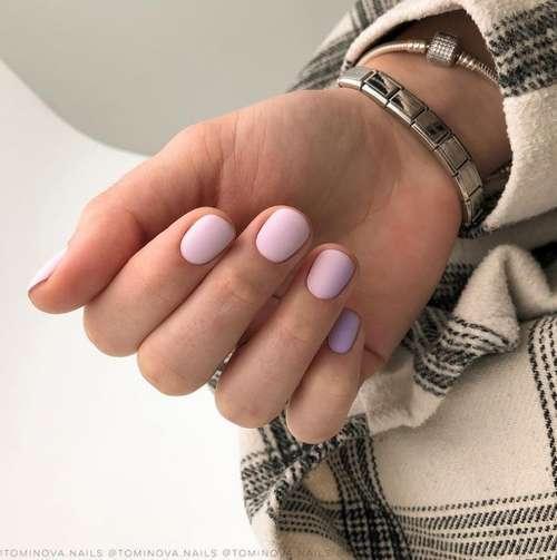Два сиреневых цвета на ногтях