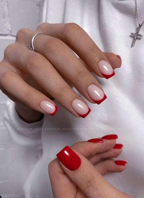Красный френч короткие ногти