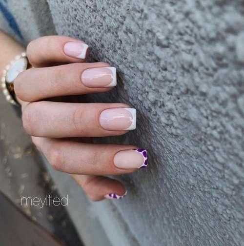 Цветной френч на одном ногте