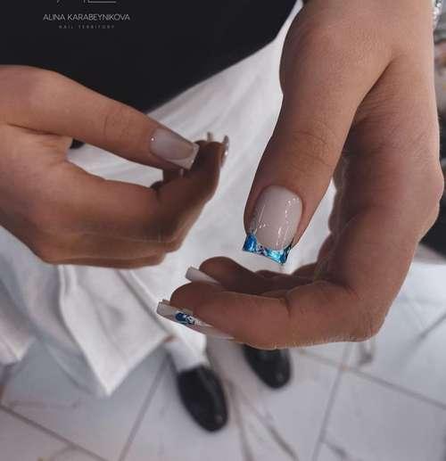 Короткий френч цветной фольгой