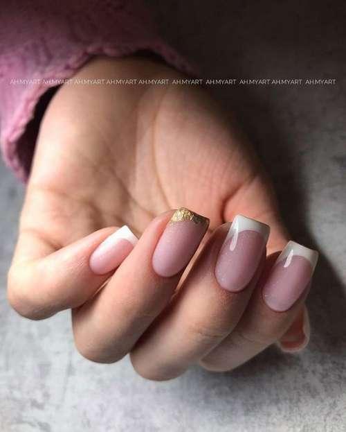 Золотистый френч короткие ногти