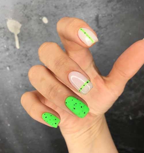 Неоново-зеленый перепелиный маникюр