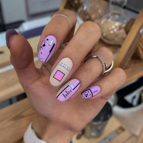 Матовый перепелиный дизайн ногтей