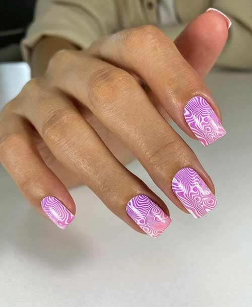 Разводы на ногтях стемпинг-дизайн