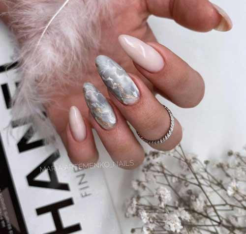 Длинные ногти дизайн с разводами