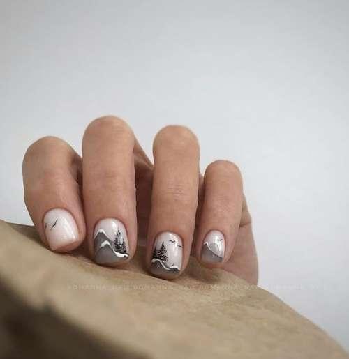 Черные рисунки на коротких ногтях