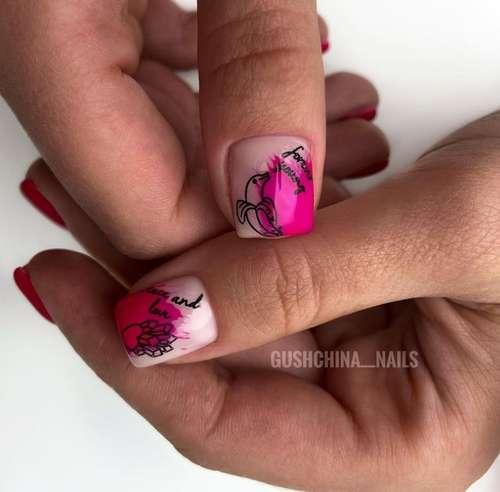 Контурные рисунки на коротких ногтях