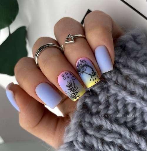 Весенние рисунки на коротких ногтях