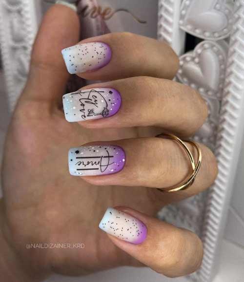 Многоцветный молочный градиент на ногтях