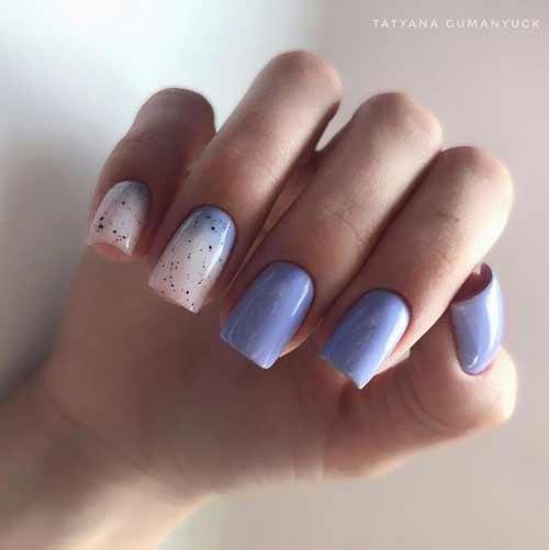 Двухцветный молочный градиент на ногтях