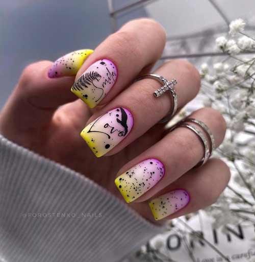 Неоново-молочный градиент на ногтях