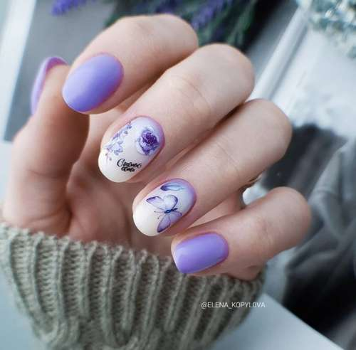 Сиренево-молочный градиент на ногтях