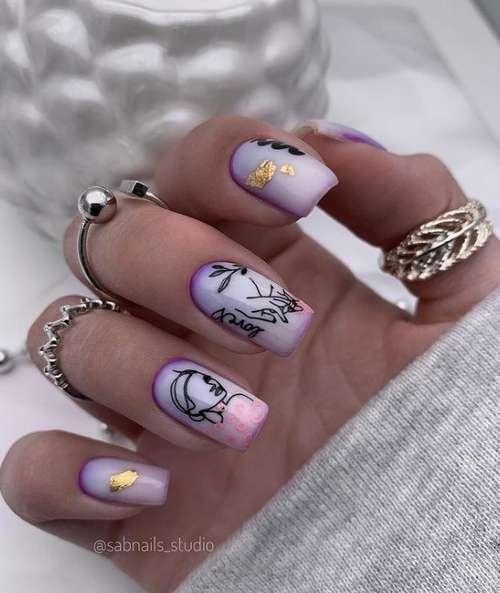 Весеннйи молочный градиент на ногтях
