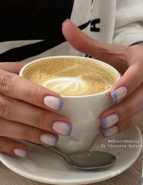 Молочный френч короткие ногти