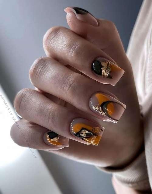 Прозрачный и абстракция на ногтях