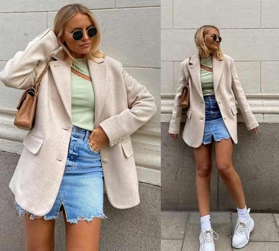 Джинсовые мини-юбки модные образы